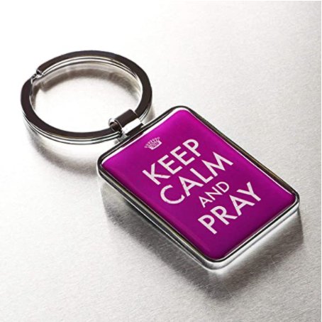 Pink Metal/Epoxy Ring Keychain for Women | Keep Calm and Pray - Philippians 4:6 Bible Verse