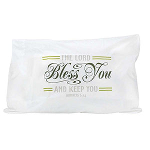The Lord Bless You Numbers 6:24 Olive Green Cotton Blend Individual Standard Size Bed Pillow Case