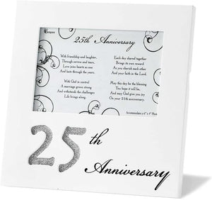 25th Anniversary 8 x 10 inch Wood Photo Frame and Table Plaque