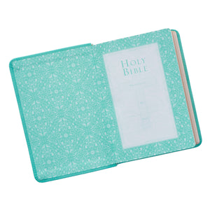 Personalized KJV Holy Bible Compact Large Print Faux Leather Tiffany Blue