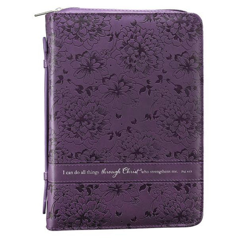 Purple/Floral I Can Do All Things Bible Cover