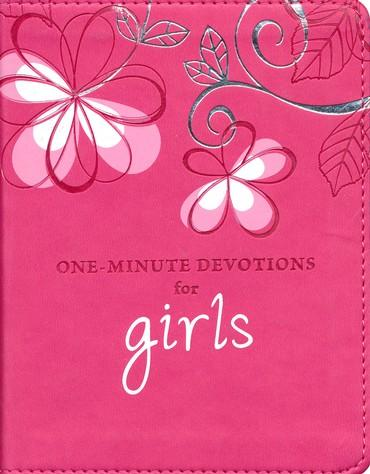 One Minute Devotions For Girls Leather Pink