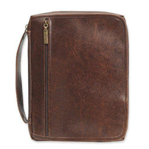 Distressed Brown Organizer Bible Cover, Size L