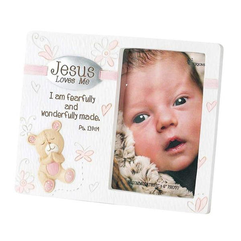 Jesus Loves Me Photo Frame Pink