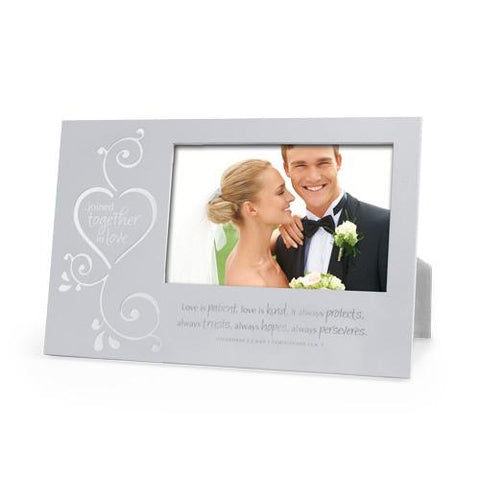 Joined Together In Love Frame Silver Metal