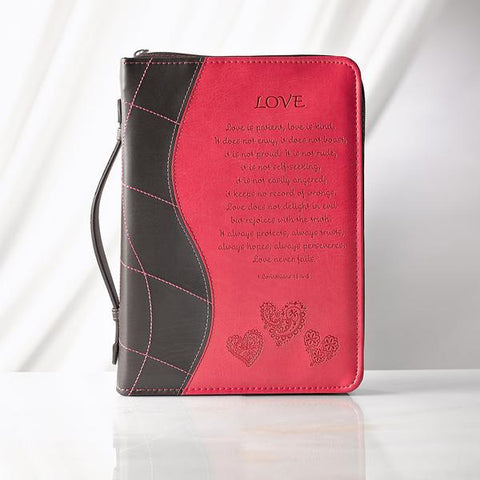 Pink Love Bible Cover, Size LG