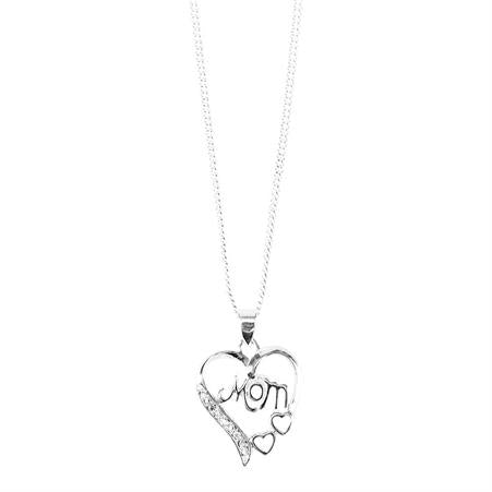 Mom Silver Plate Heart Necklace