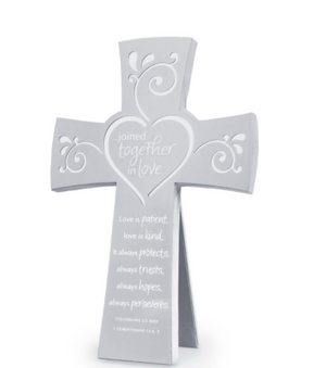 Joined Together In Love Cross Metal Silver