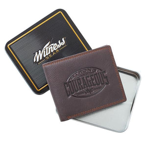 Embossed Strong & Courageous - Joshua 1:9 Wallet, Brown