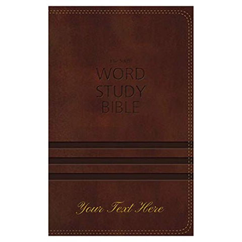 Personalized Bible with Custom Text NKJV Word Study Bible Leathersoft Brown New King James Version