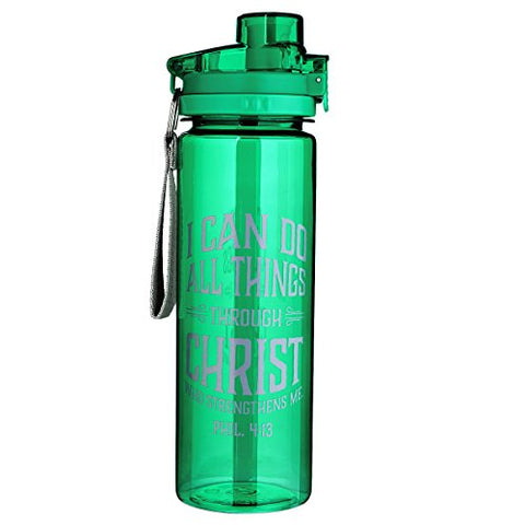 """All Things Through Christ"" Green Plastic Water Bottle - Philippians 4:13"