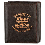 "Brown Genuine Leather""Hope as an Anchor"" Tri-Fold Wallet - Hebrews 6:19"