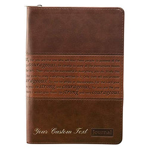 Personalized Custom Text Strong and Courageous Zippered Journal LuxLeather Joshua 1:5-7 Brown