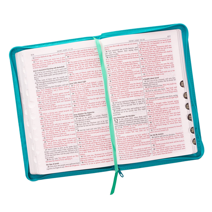Personalized Custom Text Your Name KJV Zippered Deluxe Gift Bible Thumb Index Faux Leather Turquoise