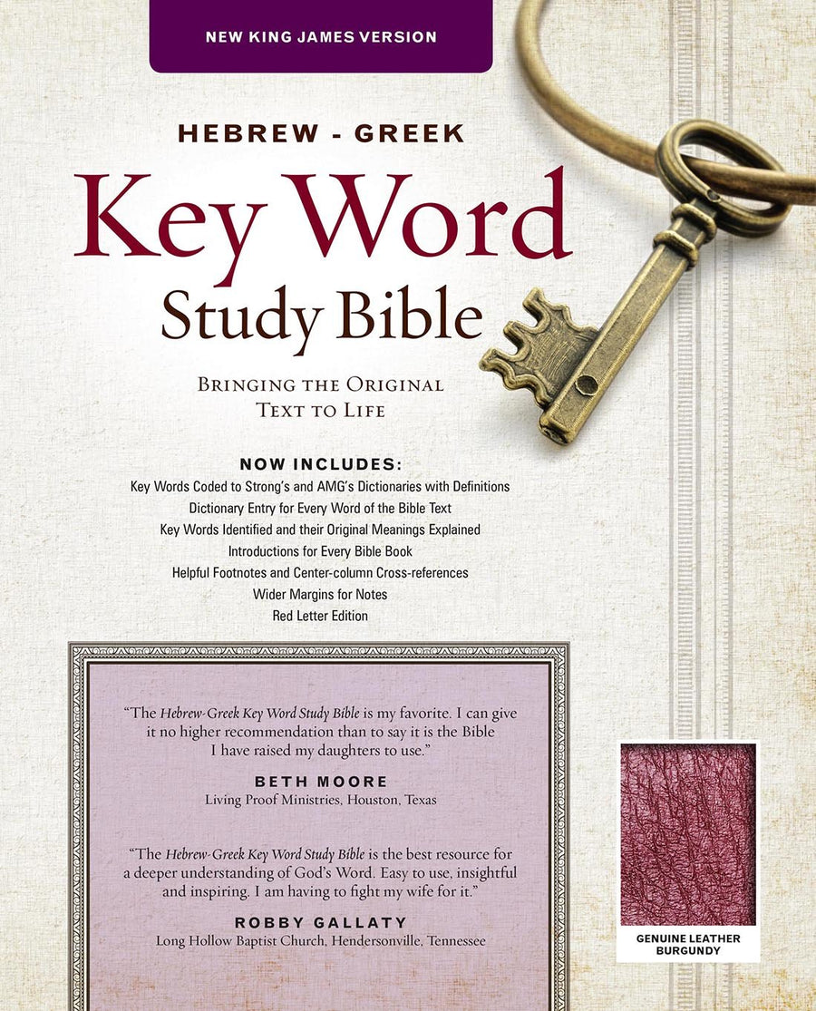 Personalized NKJV The Hebrew-Greek Key Word Study Bible Burgundy Genuine Leather