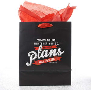 Your Plans Will Succeed Gift Bag with Tag & Tissue - Medium