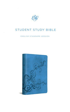 Personalized Bible Custom Text Your Name ESV Student Study Bible TruTone Ivy Design Sky Blue