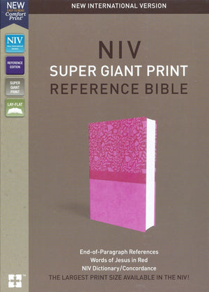 Personalized NIV Super-Giant Print Reference Bible Leathersoft Pink