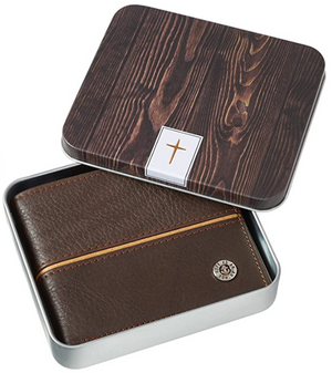 Genuine Brown Leather Bifold Wallet for Men | Hope As An Anchor – Hebrews 6:19 Bible Verse