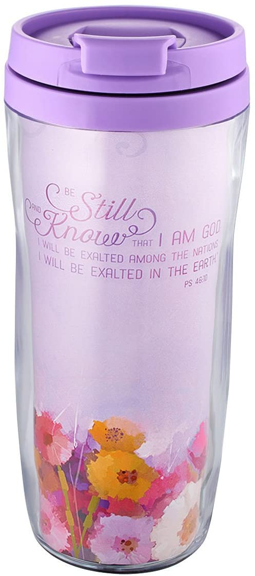 """Be Still and Know"" Polymer Travel Mug - Psalm 46:10"