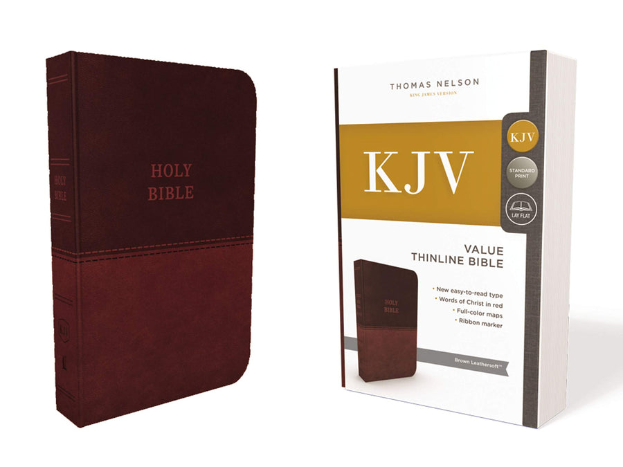 Personalized Custom Text KJV Holy Bible Value Thinline Leathersoft Standard Print Brown