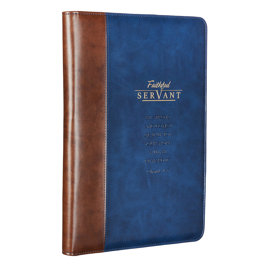 Personalized Portfolio Faithful Servant Legal Size Zippered Portfolio 2 Chronicles 15:7 Blue/Brown