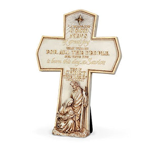 Born This Day a Savior Luke 2:11 Nativity Holy Family Gold Christmas Wall Cross