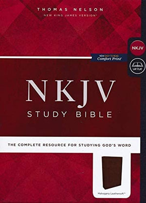 Personalized NKJV Comfort Print Study Bible Imitation Leather Mahogany