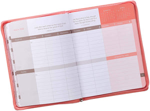 Year of Grace Peach Faux Leather Large Zippered Planner for 2020
