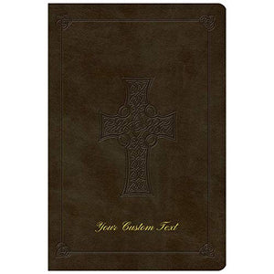 Personalized ESV Large Print Trutone Imitation Leather Celtic Cross Olive