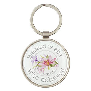 Blessed Is She Luke 1:45 Metal Christian Faith Flower Keyring for Women