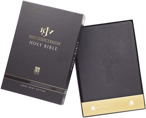 Personalized KJV Holy Bible Black Premium Leather Large Print Thinline