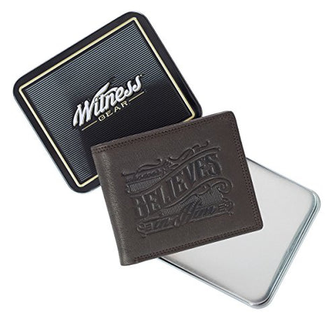 Whoever Believes Brown Leather Wallet In Tin Gift Box