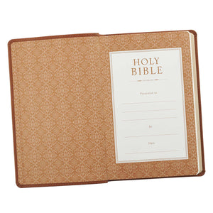 Personalized Custom Text Your Name KJV Holy Bible Gift Edition LuxLeather Brown King James Version