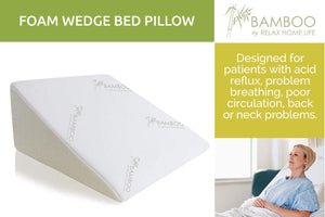 "Relax Home Life - Foam Bed Wedge Bamboo Pillow With 1.5"" Memory Foam Topper (25""W x 25""L x 12""H)"