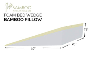"Wedge Pillow For Acid Reflux - 7.5 Inch Pillow Wedge For Sleeping. Industry leading 1.5 Inch Memory Foam Top and Stay Cool Removable Bamboo Cover. Ideal For Gerd, Heartburn, Snoring (25""W x 26""L x 7.5""H)"