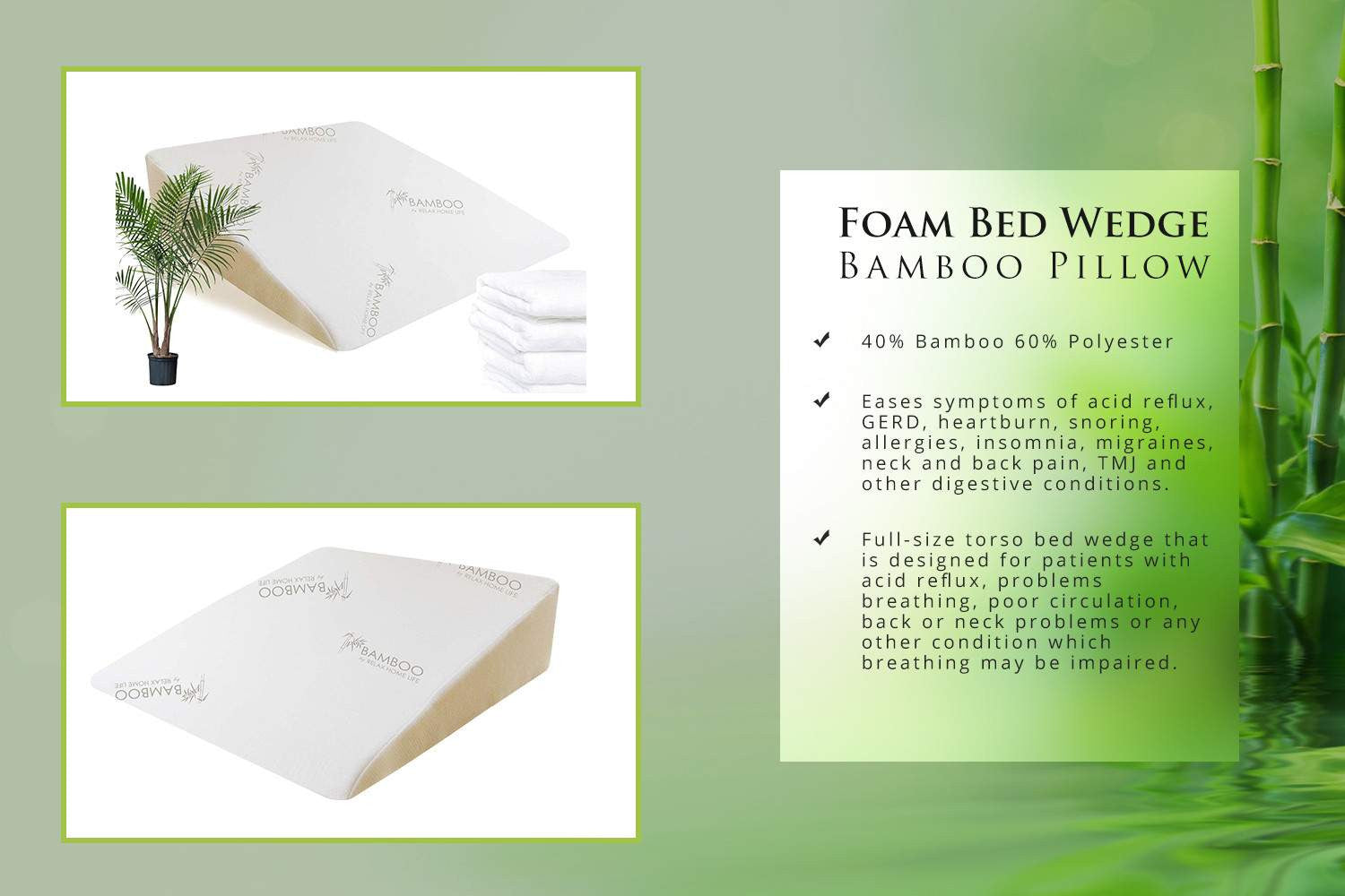 """Wedge Pillow for Acid Reflux with 1.5"""" Memory Foam - Bamboo Cover 25x2 – Relax Home Life"""