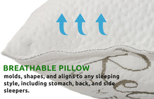 Memory Foam Pillow For Sleeping - USA MADE - (Queen) Ultra-Luxury Bamboo, Adjustable CertiPUR-US Shredded Memory Foam and Poly Blend, Hypoallergenic Bed Pillow for Side, and Back Sleeper