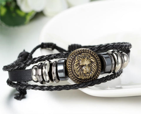 New  King Of All Lions  Fully Adjustable Leather Bracelet  With Gift Bag!