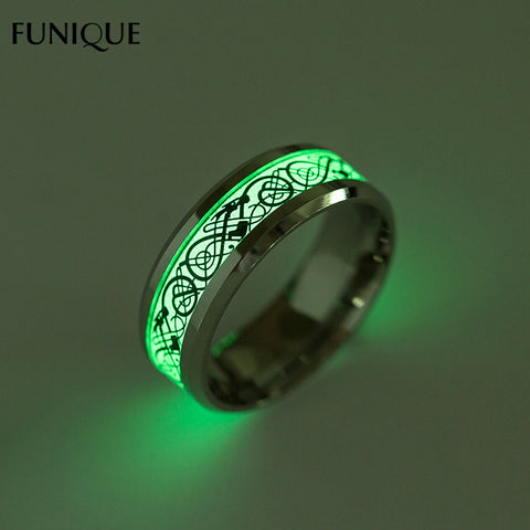New Glow In The Dark Titanium Steel Rings  For Men And Women