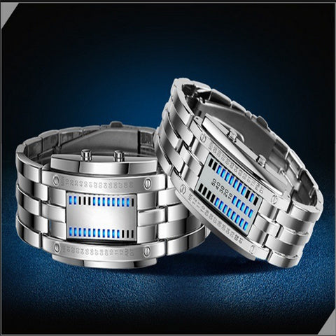 Iron Man Stainless Steel Luminous Led  Binary Watches