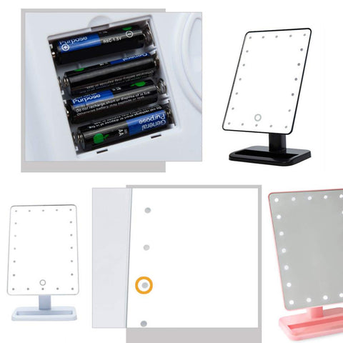 LED Light Cosmetic Table Top Mirror Stand