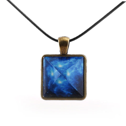Glowing Blue Galaxy Pyramid Necklace