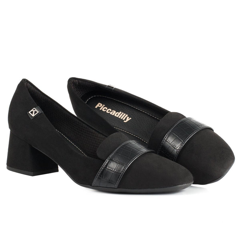 Piccadilly 151008-983 Women Moccasin Low Heel Suede Black