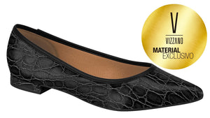 Vizzano 1206.215 Classic Pointy Toe Flat Moccassin in Croco Black