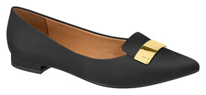 Vizzano 1206.237-1215 Classic Pointy Toe Flat Moccassin in Black