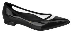 Vizzano 1206.239-1217 Vinyl Clear Shoe Trend Pointy Toe Flat Moccassin in Black