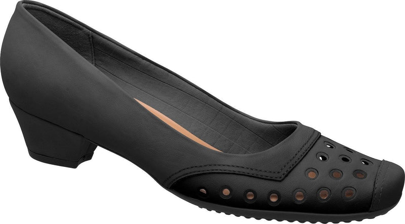 Piccadilly 141027-201 Women Laser Cut Low Heel Black