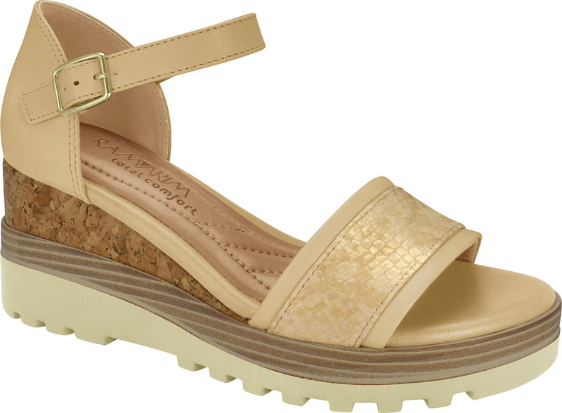 Ramarim 1814205 Women Fashion Comfortable Sandal Platform in Vanilla