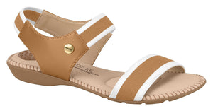 Beira Rio 7025.234-1286 Women Flat Fashion Sandal Travel Casual Shoe in White Camel